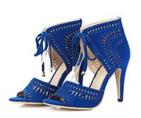 ingrosso sandali blu più il formato-Romance Women Sandals Plus Size 34-41 Fashion Summer Lace-Up tacco alto pompe piattaforma donna scarpe da donna nero blu rosso