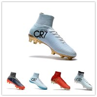 Wholesale game indoor - 2018 Assassin Cristiano Ronaldo CR7 Mercurial Superfly v FG Soccer Football Boots White Golden Shoes mens Training game Sneakers So