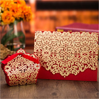 Wholesale bridal shower cards - FREE PRINTING Red Wedding Invitations 50pc Personalized Printing Laser Cut Bridal Shower Invites Marriage Invitation Cards with Envelope