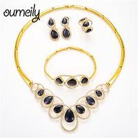 ingrosso gioielli imitazione nuziale-Set di gioielli turchi vintage OUMEILY Set di gioielli di perle africane per le donne Opal Imitation Crystal Water Drop Bridal Jewellery