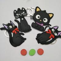 Wholesale soft animal keyrings - Cartoon Lovely Keyring PVC Soft Glue Black Cat Shaped Key Chain Eco Friendly Keys Buckle New Arrival 2 2ty B