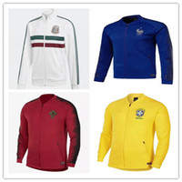 Wholesale france soccer jacket - 2018 2019 World CupTop RONALDO soccer tracksuit 18-19 PORTUGAL Training suit Mexico Brazil France football zip jacket sportswear Sweater