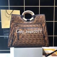 Wholesale f purse resale online - Luxury F double letter Large Capacity Genuine Leather Woven handle Bags Women Letter Pattern Handbags Designers purse Shoulder Messenger bag