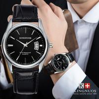 водостойкие серебряные часы оптовых-KINGNUOS 2017  Silver Watches Men Leather Casual Analog Date Day Waterproof Sports Business Quartz Wrist Watch Gifts