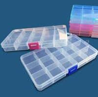 Wholesale component storage boxes resale online - 15 grid plastic transparent box Creative fashion storage detachable sorting parts lattice box Fishing gear finishing box component storage P