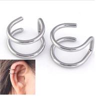 Wholesale rock punk earring resale online - Fashion pair Style Punk Rock Ear Clip Cuff Wrap Earrings No Piercing Clip Hollow Out U Pattern Statement Jewelry For Women
