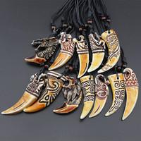 yak schmuck großhandel-Vintage 12 Arten Imitation Yak Knochen Zahn Anhänger Yak Knochen Tier Zahn Anhänger Halskette Länge Seil Einstellbare Vintage-Schmuck Großhandel