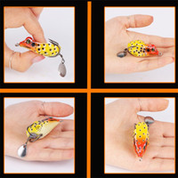 Wholesale freshwater frog lures online - Simulation Fishing Lures Blackfish High Carbon Steel Double Hook Bionic Frog Fake Bait Equipment Artificial Rubber hz bb