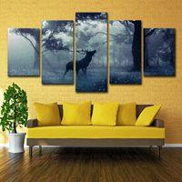 panel de lona de bosque al por mayor-Lienzo Arte de la pared Fotos Decoración para el hogar Impresiones en HD Carteles 5 piezas Bosque Animal Bucks Deer Elk Nieve Paisaje Pinturas