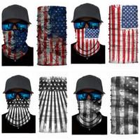Wholesale men scarve - 3D Magic Headband American flag Headband Multi Head Scarf Scarve Face Mask Scarf Bandanas Magic Headband Men Women KKA4071