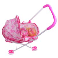 Wholesale baby children play doll resale online - Plastic Doll Stroller w Baby Doll Children Play Pram Toy Kid Pretend Play Set Christmas Gift