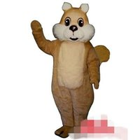 Wholesale Squirrel Mascot Adult Costume - Custom Yellow big tail squirrel mascot costume Adult Size free shipping
