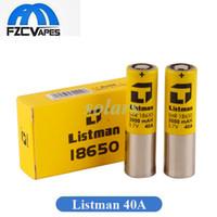 batería superior amarilla al por mayor-Auténtica batería Listman IMR 18650 3000mAh 40A Batería de litio Parte superior plana Piel amarilla Descarga de alto drenaje Batería Li-on