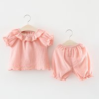 Wholesale Korea Set Girl - Girls Swan Embroidery Tops+Pants Outfits Summer 2018 Kids Boutique Clothing Korea 1-4T Cute Little Girls Solid Color Tops 2 Pieces set