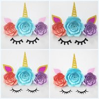 Wholesale flower making supplies resale online - Unicorn Flower Ornament For Backdrop Baby Shower Rainbow Birthday Party Decor Supplies Hand Made Adornment Popular jm3 BB