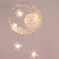 yatak odası için modern lambalar toptan satış-Modern Kişiselleştirilmiş Ay Yıldız Avize Çocuk Yatak Odası Cilalar Asılı Tavan Lambası Ev Dekoratif Armatür Aydınlatma