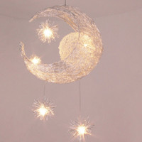 lámpara de techo de la habitación al por mayor-Moderno Personalizado Moon Star Chandelier Dormitorio de los Niños Lustres Colgante de la Lámpara de Techo Hogar Iluminación Decorativa Del Accesorio