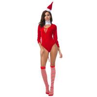 frauen santa outfit groihandel-Weihnachten Kostüme für Frauen Sexy Xmas Bodysuit mit Hut Red Santa Claus Outfits Nachtclub Thema Kostüm