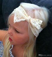Wholesale girls ivory headband - Fashion Baby Girls Simple Lace Bow Headbands Toddler Kids Elastic ivory Hairbands Children Unique Hair Accessories Europe Style KHA272