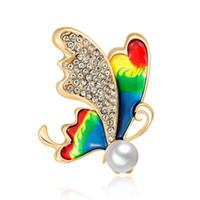 pedrería en forma de mariposa al por mayor-XIUFEN Encantadora Forma de Mariposa Rhinestone Breastpin Mujeres Elegante Joyería Broches de Seda Fina Decoración