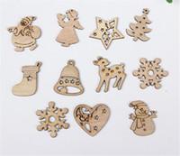 decoraciones de muñeco de nieve de navidad al por mayor-50 unids set diy astilla de madera natural árbol de navidad adornos colgantes regalos para niños muñeco de nieve forma de árbol adornos de navidad decoraciones