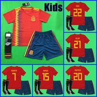 Wholesale Boys L - Thailand KIDS Spain soccer jerseys 2018 world cup football Kits kids uniform with socks camisetas de futbol MORATA ASENSIO ISCO SILVA RAMOS