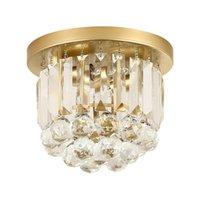 ingrosso cristalli di lampade a soffitto-OOVOV Simple Round Gold Hallway Light, Ferro, Cristallo, E14, per Luci per guardaroba Ingresso Balcone Lampada da soffitto