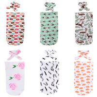 Wholesale Wholesale Canvas Wraps - 0-12M Newborn Baby Blanket Swaddle Sleeping Bag Cute Print Sleepsacks Stroller Wrap Outwear Unisex Six Style