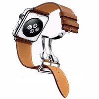 коричневый кожаный браслет оптовых-Один тур коричневый натуральная кожа ремешок для часов серии 2 Группа 1-й 2-й нержавеющей стали пряжки ремешок