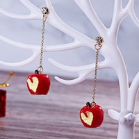 Wholesale apple gift ideas online - Christmas Gifts New Ideas Long Drip Dripping Earrings Simple Small Candy Apples Snowflakes Earrings Women Fashion Accessories