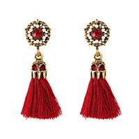 böhmisches gewebe großhandel-Neue Mode Böhmischen Kristall Quaste Ohrringe Für Frauen Boho Seide Stoff Lange Tropfen Baumeln Schmuck Großhandel