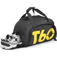 ingrosso tasche per gli uomini-T60 New Men Sport Gym Bag Donna Fitness impermeabile all'aperto Spazio separato per le scarpe sacchetto zaino Hide zaino