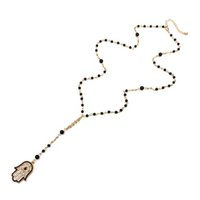 ingrosso 14k catene d'oro turco-Collana di perle nere occhio fortunato Collana di maglia oro turco Collana Hamsa mano Collana di fascino maglione collana occhio EY105