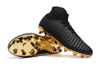 siyah magista futbol çizme toptan satış-2018 Yeni 100% Orijinal Magista Obra II Futbol Ayakkabıları Siyah Altın Futbol Cleats Yüksek Ayak Bileği Futbol Çizmeler