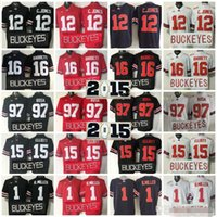 15 16 futbol gömlekleri toptan satış-2015 Ohio State Buckeyes Kolej Futbol Formaları 15 Ezekiel Elliott 16 J.T Barrett 12 Cardale Jones 1 97 Joey Bosa formaları