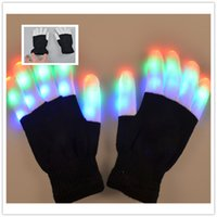 ingrosso guanti da incandescenza-Creative 7 Modalità LED Finger Lighting Lampeggiante Glow Mittens Gloves Rave Light Festive Event Party Supplies Guanti luminosi e luminosi