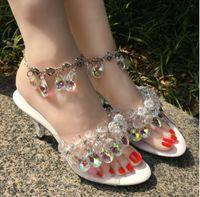 ingrosso tacchi a sandalo alla caviglia-Moda sandali tacchi alti di cristallo di Boemia moda tacchi diamante venditore caldo con sandali anklet scarpe da sposa tacchi ultra alti