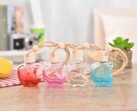 Wholesale apple perfume bottles resale online - Apple Shape Glass Perfume Pendant Car styling Auto Ornament Colorful Empty Air Freshener ml For Essential Oils Car Perfume Bottle