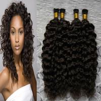 uçlu insan saçı toptan satış-Işlenmemiş Brezilyalı Sapıkça Kıvırcık Bakire Saç Ben Ucu Saç Uzatma 200g / ipliklerini Prebonded İnsan Saç Uzantıları # 2 Koyu Kahverengi