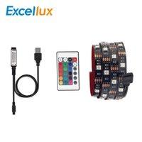 llave del controlador remoto de la pc al por mayor-Tira de LED de 5V DC USB Tira de LED 5050 RGB impermeable Sin iluminación de TV para PC a prueba de agua con 24 teclas de control remoto en 0.5M 1M 2M