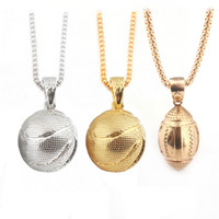 Wholesale Men Basketball Necklace - Gold Pendants Necklace 2018 Fashion Creative Basketball Silver Plated Stainless Steel Chain Retro Necklace For men Jewelry Accessories