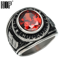 Wholesale wholesale china for sale - Hip hop Punk Vintage Natural Stone Ring Black Silver Runes Titanium Stainless Steel Antique Rings for Men Jewelry