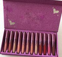 Wholesale matte box red - Kelly Matte Liquid Lipstick 12 Colors Rose Red Box Lip Gloss 12pcs Purple Heart Lipgloss Collection Stock Clearance