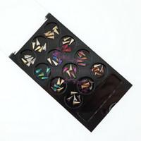 ingrosso chiodi neri art-1 Set Black Case Boxed 60PCS Mix 12 colori 3D Triangolo lungo forma di cristallo Strass Gioielli Nail Art 3D decorazioni fai da te