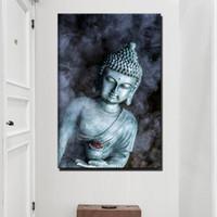 religiöse leinwand gemälde großhandel-Rauch Vape Buddha Statue Buddhismus Leinwand Gemälde Große Größe Religiöse Buddha Wand Poster Für Wohnzimmer Wand-dekor Kein Gestaltet
