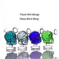 seyahat boruları toptan satış-Yeni Mini Kafatası Cam Bongs Seyahat Mini Su Bong Mars Cam Künt Bong Bubbler Ortak Sigara Kabarcık Su Boru