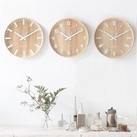 Wholesale antique wood decor for sale - Group buy Primary Wood Mute Living Room Wall Clock Fashion Simple Study Circular Alarm Clock Home Furnishing Wall Clocks Bedroom Decor rf gg