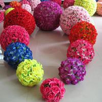 inch rose pomander großhandel-Rose Bälle 6 ~ 24 Zoll (15 ~ 60 cm) Hochzeit Seide Pomander Kissing Ball schmücken Blume künstliche Blume für Hochzeit Gartenmarkt Dekoration