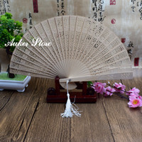 Wholesale birthday party giveaways resale online - Personalized Sandalwood Folding Hand Fans Customlized Wedding favors Gift Fans with Tassel Party Giveaways DHL