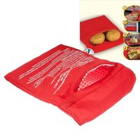 Wholesale fast food bags - Potato Express Microwave Red Cooker Bag 4 Minutes Quick Cooing Fast Reusable Washable Easy Cook Quick Fast Quick Cooing Kitchen Food Baking